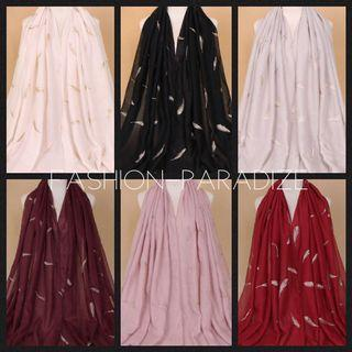 Instock Feather Embroidery Cotton Maxi shawl hijab