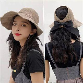 防曬防UV夏天遮陽帽草帽可折疊鏤空透氣
