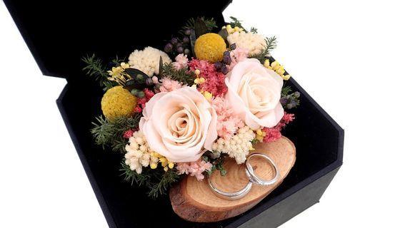 Preserved Rose Wedding Ring Box / Ring Bearer Box / Preserved Flower Arrangement