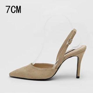 Suede high heel