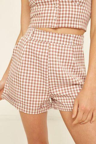 LUCK & TROUBLE TAPER GINGHAM SHORT PINK