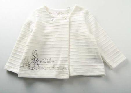 (0-12M) 出口歐洲 Peter Rabbit 彼得兔 純棉白色外套/長褲 套裝全新 new baby clothes