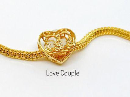 916 Gold Charm Love Couple Bead