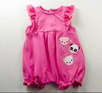 (0-12m) Guess 女童嬰兒BB夏天純棉無袖粉紅桃紅色平腳夾衣  全新優惠價