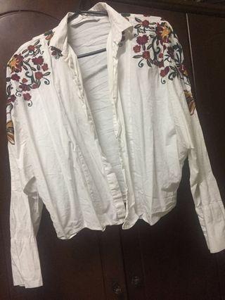 Zara embroidery shirt + FREE Stripes Cardigan