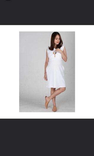 Jump Eat Cry white maternity nursing dress