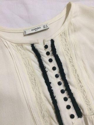 Mango off white long sleeves blouse