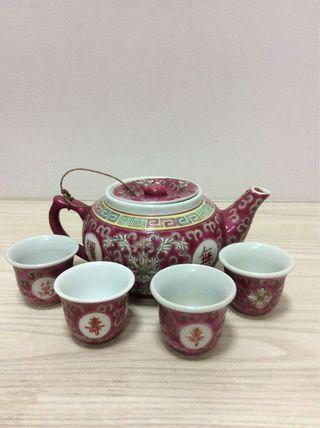 Porcelain Teapot and Teacups