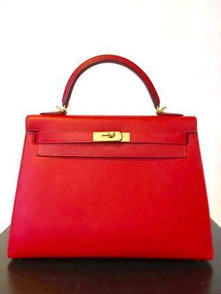 e8f66207003 FIRE SALE - Hermès Kelly 32 Rouge Casaque Epsom GHW