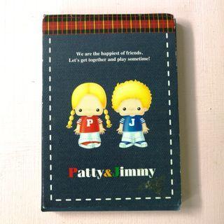 已絕版 Sanrio Patty & Jimmy PJ Memo Pad 記事簿 1998年 日本限定 中古