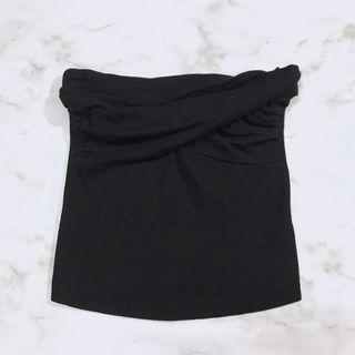 黑色紐結平口上衣