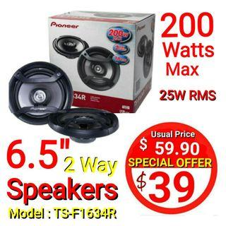 👍👍Great Deals for 6.5 inch 200W 16 cm 2-way Car Audio Speakers (Pair) TS-F Series Model-Pioneer TS-F1634R. Usual Price : $59.90 Special : $39.00 (Brand New in box)