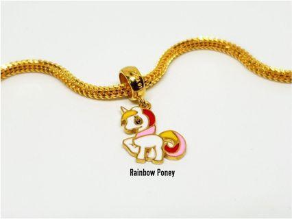 916 Gold Charm Rainbow Pony