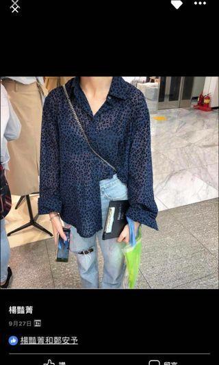 🚚 正韓豹紋藍襯衫