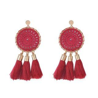 Boho Fringe Round Dangle Earring - Red