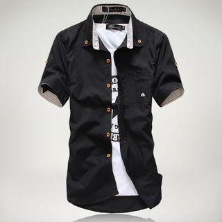 Korean Stylish Men Collar Shirt Slim Fit Cutting Design