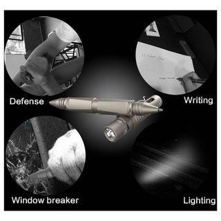 🔦🔨🖊TP10 3-in-1 tactical pen flashlight (130 Lumens) (Titanium Grey) Torch