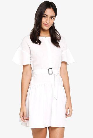 ZALORA Belt Waist White Dress PLUS SIZE