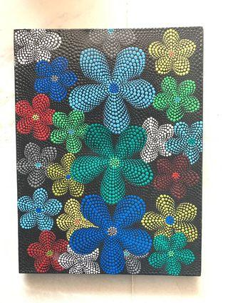 Bali Flower Pointilism Painting