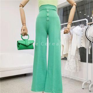TC3490 Korea Buttons Knitted Loose Flared Pants (Green,Pink,Orange,Black)