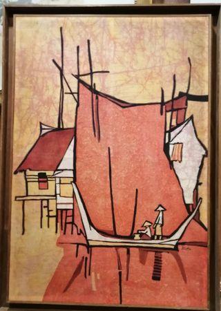 "Batik art Dated 1971 signed ""Loke"" painting"
