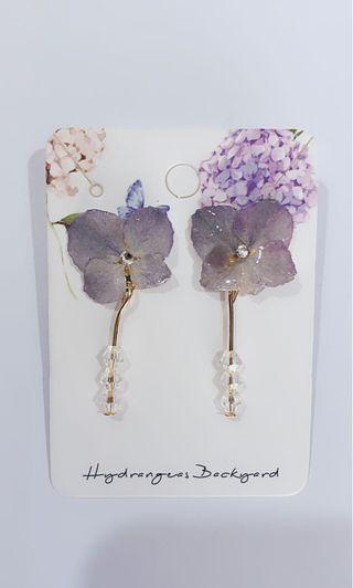 Hydrangeas Backyard real flowers earrings