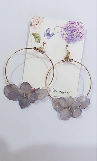 Hydrangeas Backyard real flowers earring