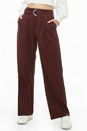 Forever 21 High waisted striped maroon Trousers