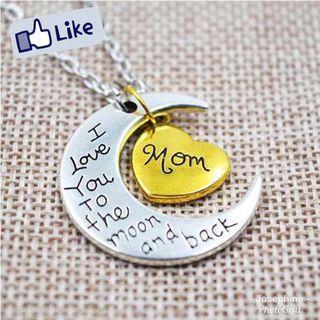 "🚚 ""MOM"" Engraved Heart Moon Shape Pendant Necklace"