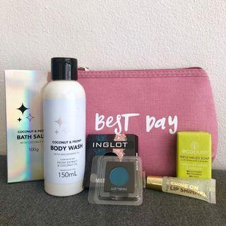 Brand new gift set inglot eye shadow, ecopure soap, body wash, bath salt, lip shimmer, make up bag