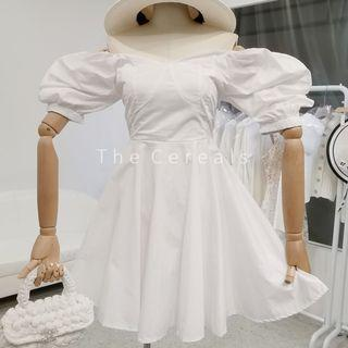TC3491 Korea Retro Audrey Style Dress (White,Black)