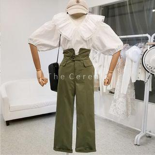 TC3492 Korea 2 Pieces Romantic Blouse + High Waist Paper Pants (White+Green,Black+Khakis)