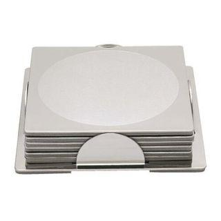 IKEA Set of 6 Square Stainless Steel Coasters With Stand!