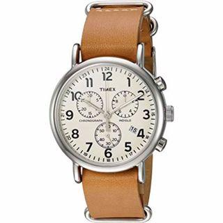 Timex Men's Weekender Chronograph 40mm Leather Strap Tan 手錶⌚️ 文青 返工 學生 情侶 禮物🎁