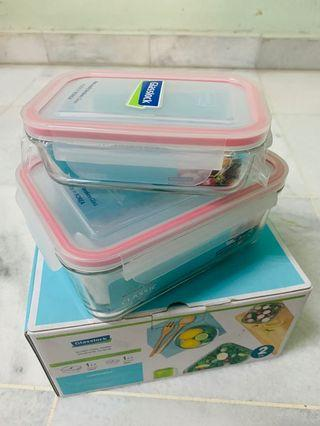 Glasslock Rectangle Shape 2pcs of Food Container