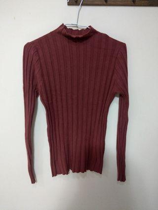 酒紅色 針織 緊身 上衣 可愛 造型
