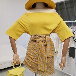 TC3493 Korea 2 Pieces Loose Top + Checkers Skirt (Yellow,Pink)