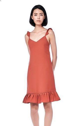 🚚 TEM Marla Ruffle-Hem Midi Dress in Antique Rose
