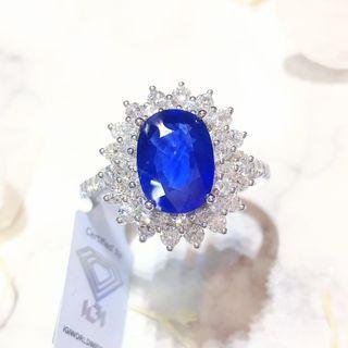 【Peggyhoho】全新18K白金2卡63份錫蘭藍寶石配84份真鑽石戒指 | IGI證書 斯里蘭卡產 Sri Lanka Sapphire| HK14
