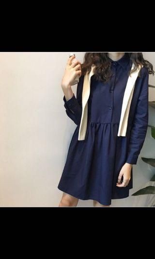 深藍長袖襯衫洋裝