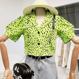 TC3495 Korea Dots Buttons Retro Blouse (Neon,White)