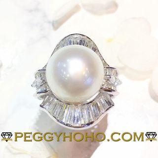 【Peggyhoho】 全新18K白金3卡28份鑽石配珍珠戒指|13.5mm天然南洋白珍珠| HK14.5號