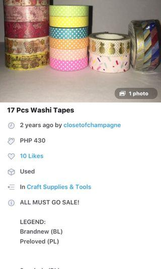 17pcs washi tapes brandnew and preloved