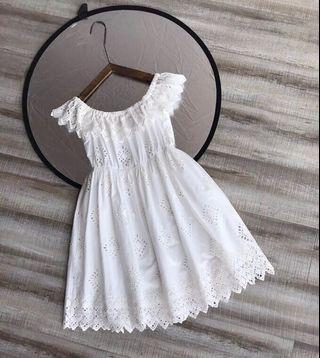 Sea New York white cotton eyelet dress
