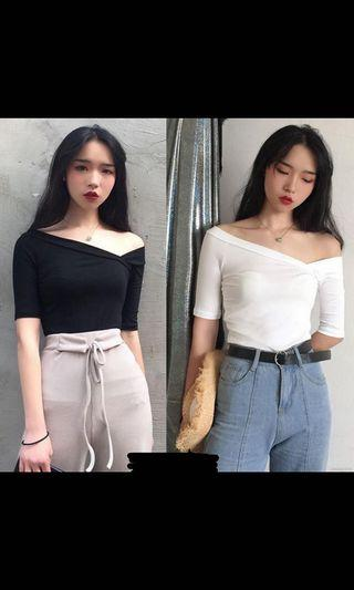 (RS) Off Shoulder Top Black and white available