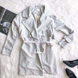 Icy Gray Trench Coat with Satin Bow