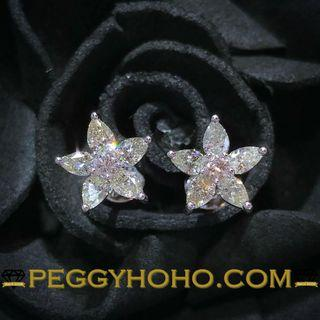 【Peggyhoho】全新18K白金85份鑽石耳環 | 海星形耳環 STARFISH | 罕有梨形鑽石