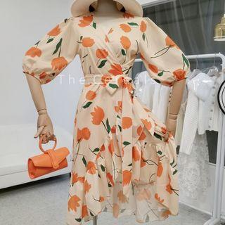 TC3496 Korea 1 Piece Orange Flowers Holiday Dress