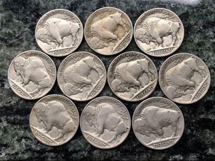1936年 美國🇺🇸USA 大水牛 Nickel 5 cents x 10個