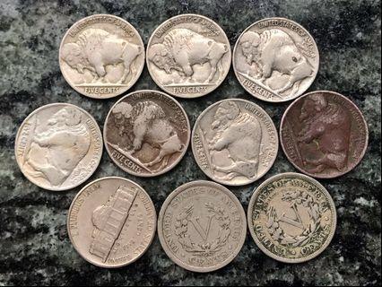 1901-40年 美國🇺🇸USA 5 cents Nickel x 10個 全部年份不同